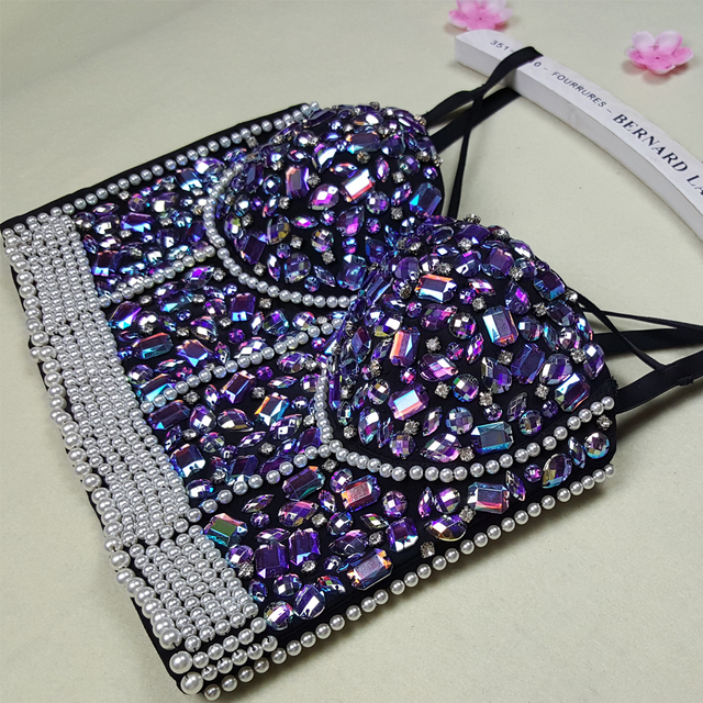 7bafd4a1abcf6 Holographic Fetival Rave Wear Crop Top Outfits Clothes Women Rhinestone  Embroidered Bra Top Jeweled Beaded Pearl Bustier