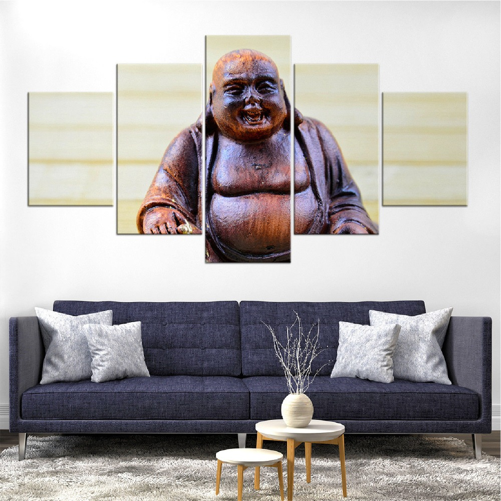 Canvas Painting Modern Wall Art Poster Laughing Buddha Statue For Living Room Home Decor Artwork Picture
