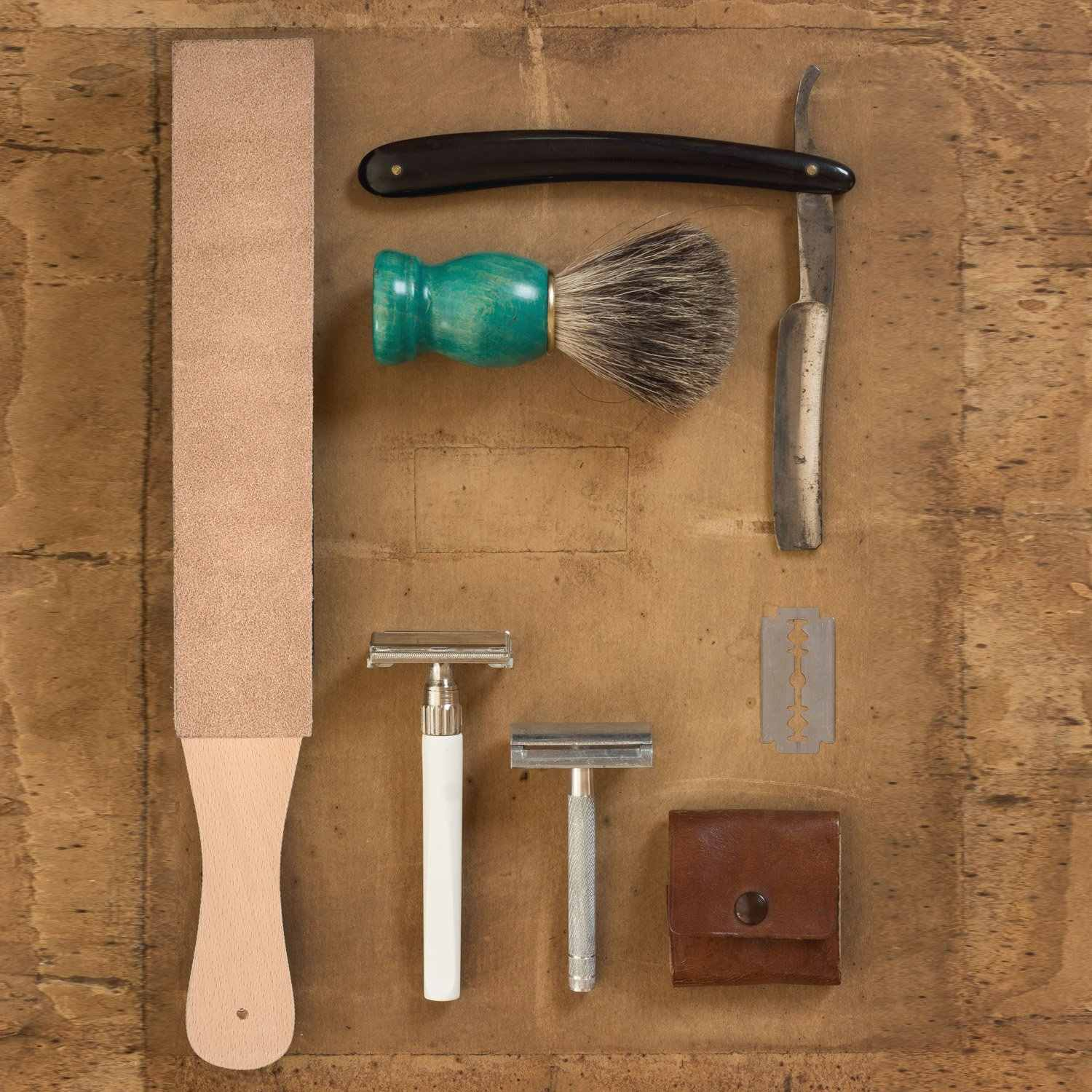 Leather Strop with Compounds Kit, Honing Block Stropping Leather Paddle  Strop 4 58 oz Green White Buffing Polishing Compounds