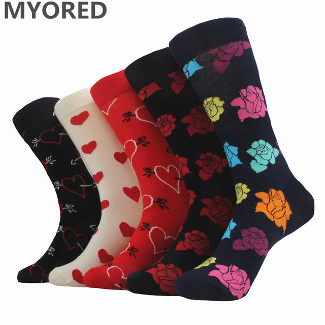 MYORED 5pairs/Lot new styles cotton socks for man Harajuku tide dress couple colored gift socks for Valentine holiday
