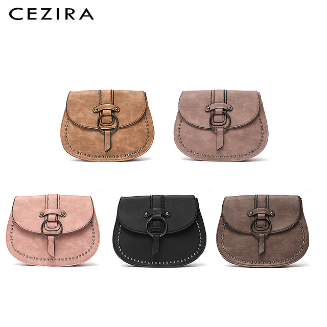CEZIRA Vegan Leather Crossbody Bag For Women Casual Vintage Messenger Bag Girls Flap Saddle Bags Pu Leather Ladies Shoulder Bags 2
