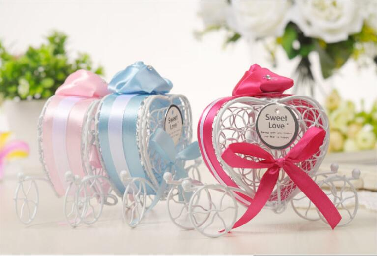 New 12pcs Love Heart Pumpkin Carriage Chocolate Candy Box Kit Set Wedding Use