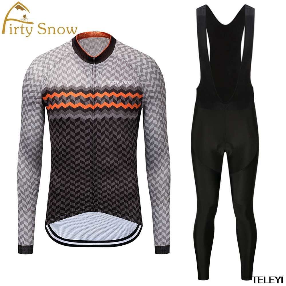 firty snow Brand 2018 High Quality Newest Pro Fabric Thin Cycling Set Jersey Wear Long Set Bike Clothing Pants Suit Black Green