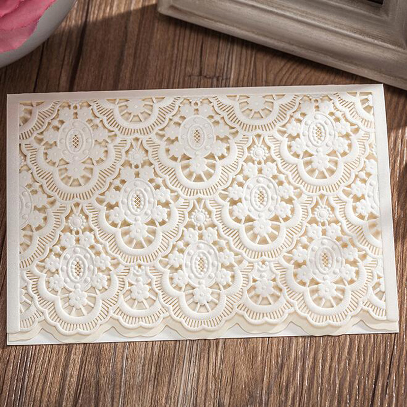 50pcs White Laser Cut Wedding Invitations Card Post Greeting Cards Customize Printable Wedding Decoration Event Party Supplies tri folding red white laser cut lace wedding invitations lot paper blank printing invitation cards kit post greeting casamento