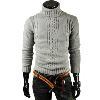 Male Sweater Pullover Men 2017 Male Brand Casual Slim Sweaters Men Solid High Lapel Jacquard Hedging