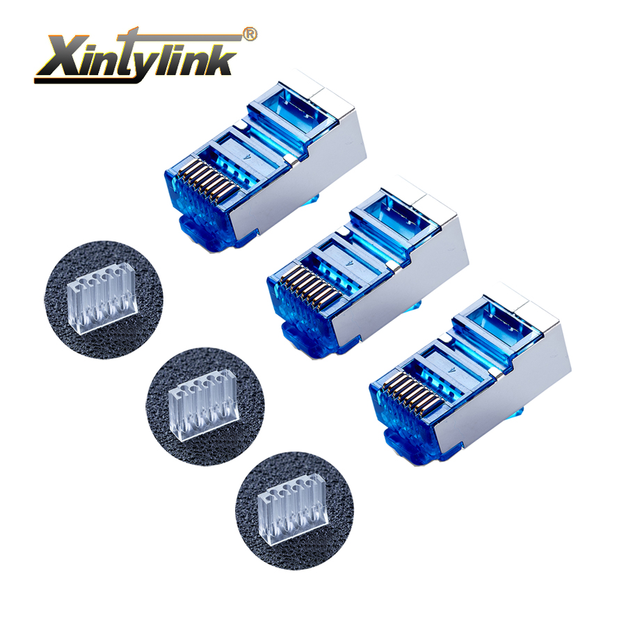 xintylink 50pcs blue rj45 connector cat6 8P8C metal shielded rj45 plug terminals network connector load bar split type modular network socket hr 911105 c brand new goods in stock network transformer 59 8 p 8 c bring lamp bring shrapnel rj 45
