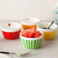 Set of 4 Fine Bone China Ceramic Bowls Creative Hand Painted Cartoon Bowls for Fruit Tableware Flatware Rice Salad Bowl
