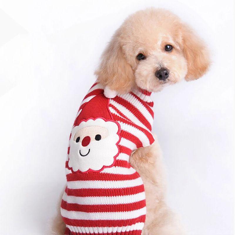 f6ffb25c0e44 Новый Рождество Санта Клаус кошка свитер для собаки Товары для собак  Костюмы Вязание Рождество Зимняя куртка наряд теплая одежда