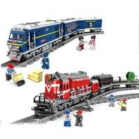 NEW 98219 98220 City Series model the Cargo Set Building Train Train track Blocks Bricks Train Educational Toys For Children
