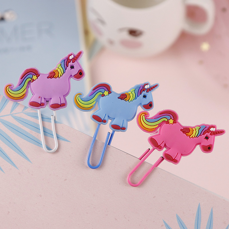 Cute Creative Unicorn Bookmark Kawaii Book Markers Paper Clip For Kids Gift Korean School Stationery Student Supplies 20 colors pc korean stationery cute kawaii crayons creative graffiti pens for kids painting drawing supplies student