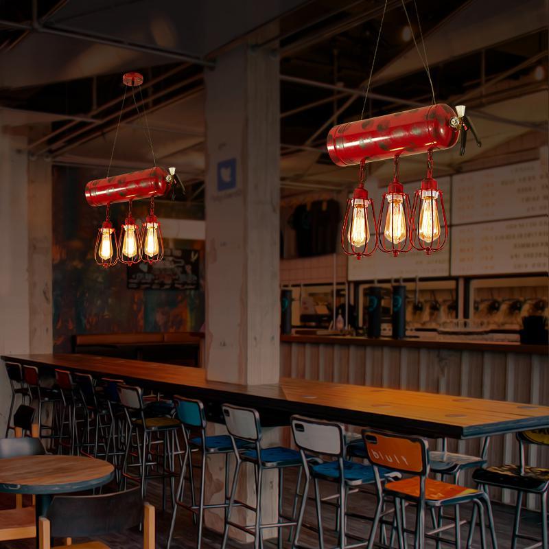 Creative fire extinguisher pendant lights nostalgic LOFT restaurant bar coffee personalized home lighting pendant lamps ZA GY317