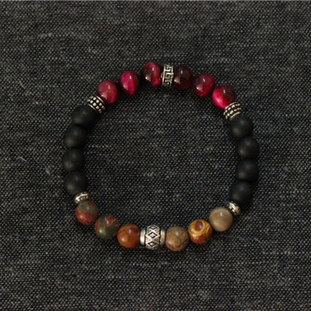 Mens Bracelets 2017 Sterling Silver Jewelry Red Tiger-eye Natural Stone Stretch Bracelet Men Bracelet Jewellery Men Accessories