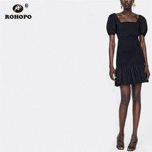 ROHOPO Off Shoulder Tunic Women Black Dress Puff Sleeve Ruffles Tube Vintage Cute Mini Preppy Girl Vestido #TW7105