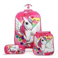 Hot 3PCS/set 3D Stereo Trolley Case Cute Hello Kitty Anime Kids Travel Suitcase Girl Cartoon Luggage EVA Children Schoolbag