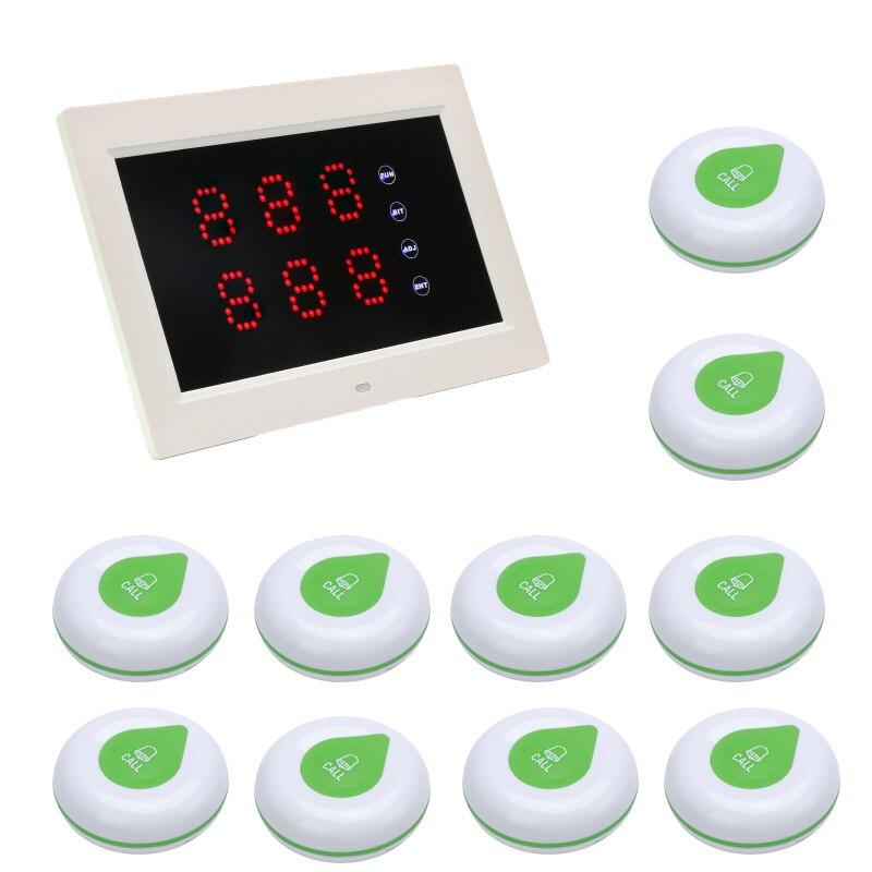 Ricevitore senza fili Dello Schermo di Tocco Sistema di Chiamata Senza Fili Display A LED e 10 Sistema di Pulsante di Chiamata di Chiamata Impermeabile Pulsante del Trasmettitore