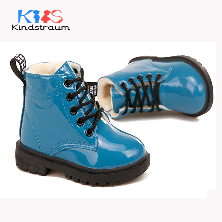 Kindstraum 2017 New Winter PU Leather Boots for Boys & Girls Fashion Sewing Design Antiskid Bottom Children Warm Shoes, HJ088