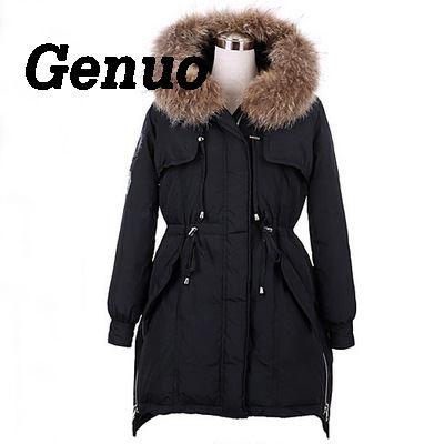 e0facf5e5f5 Genuo Women Luxurious Fur Collar Hooded Coat Winter Warm Fur Down Overcoat  Long Army Coat Waterproof Winter Parka Jacket-in Parkas from Women s  Clothing   ...