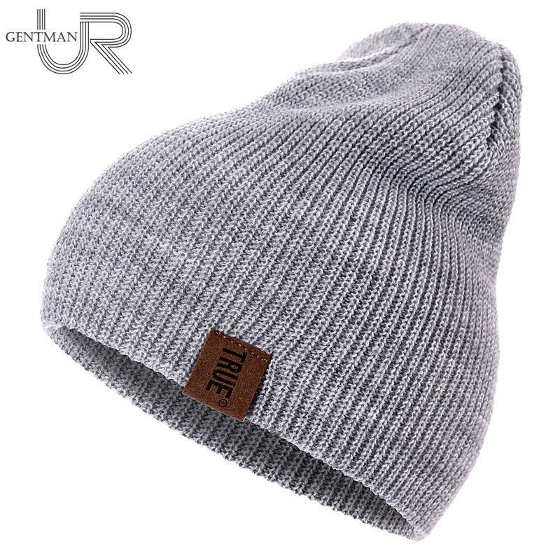 URGENTMAN 1 Pcs PU Letter True Casual For Men Women Warm Knitted Winter Solid Beanie