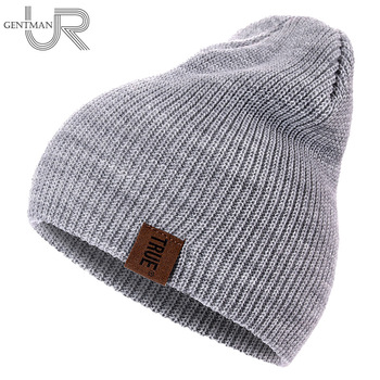 f84f0d4213237 1 Pcs Hat PU Letter True Casual Beanies for Men Women Warm Knitted Winter  Hat Fashion