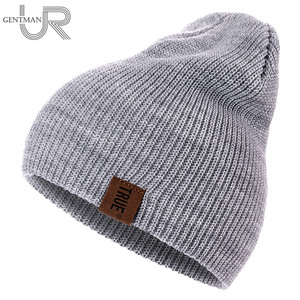 1 Pcs Hat PU Letter True Casual Beanies for Men Women Warm Knitted Winter Hat Fashion Solid Hip-hop Beanie Hat Unisex Cap(China)