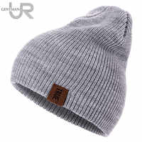 1 Pcs Hut PU Brief Wahre Casual Mützen für Männer Frauen Warm Gestrickte Winter Hut Fashion Solid Hip-Hop Beanie Hut unisex Kappe
