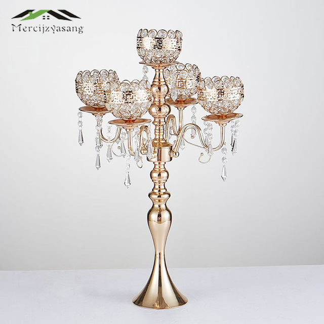 Gold Candle Holders 5-Arms Candlestick For Wedding Stand Pillar With Crystals Portavelas Metal Candelabra 10PCS/LOT 63CM 01502