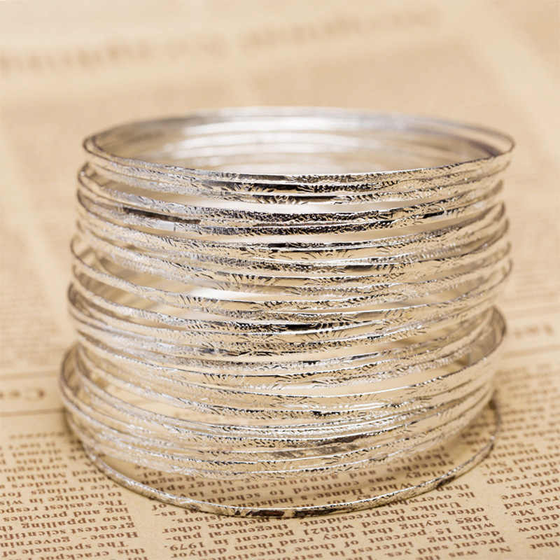 5 piece/lot Women Gold Silver Plated Single Circle Cuff Bracelet Big Round Hoop Bangle Wristband Female Simple Jewelry