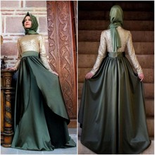 High Neck Sequined Muslim Evening Dresses Long 2016 A-Line Satin Dubai Turkish Formal Evening Gowns With Hijab Robe De Soiree