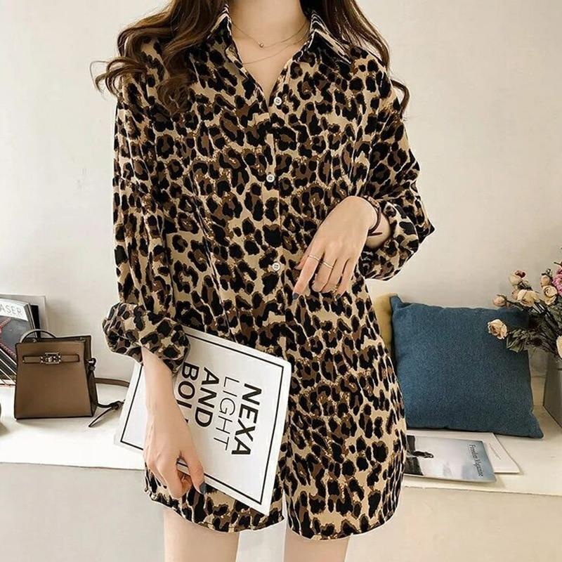 Office Leopard Print Shirt Female Loose Blouses Women Long Sleeve Turn-down Collar Blouse Vintage Top