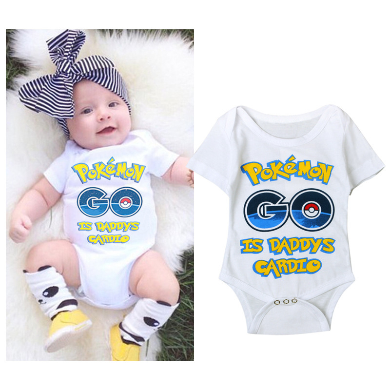 Cartton Pokemon Go Cute Short-Sleeved Baby Boys Girls Rompers Clothes  Onesie Baby Jumpsuit Rosherun Roupas