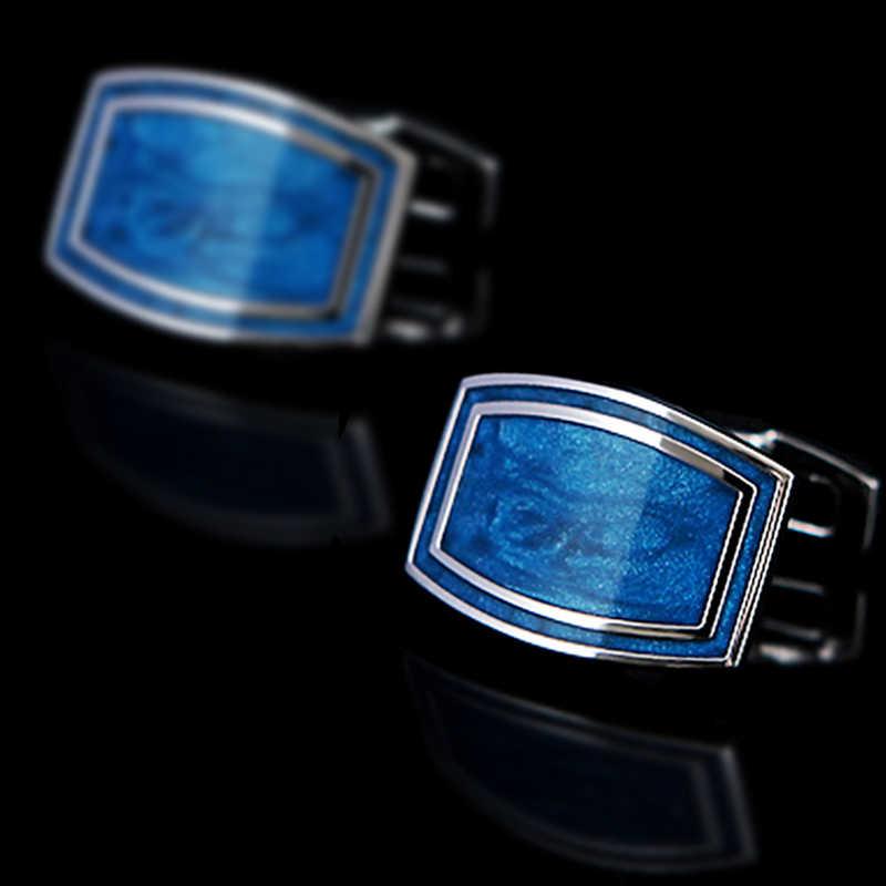 Kflk luxo 2019 camisa abotoaduras para presente masculino marca botões de punho azul esmalte manguito ligação alta qualidade abotoaduras jóias
