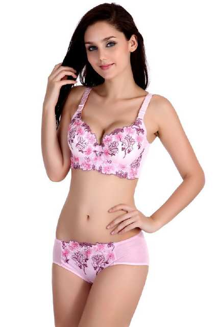 4614059a0334b Plus size Bra 34 36 38C D Cup women s bra sexy intimate cotton lace  Embroidered floral