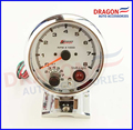 "3.75"" 95mm Electrical 7 Led Colors Tachometer RPM Gauge With Internal Shift Light 4 6 8 Cylinders White Face Chrome Rim"