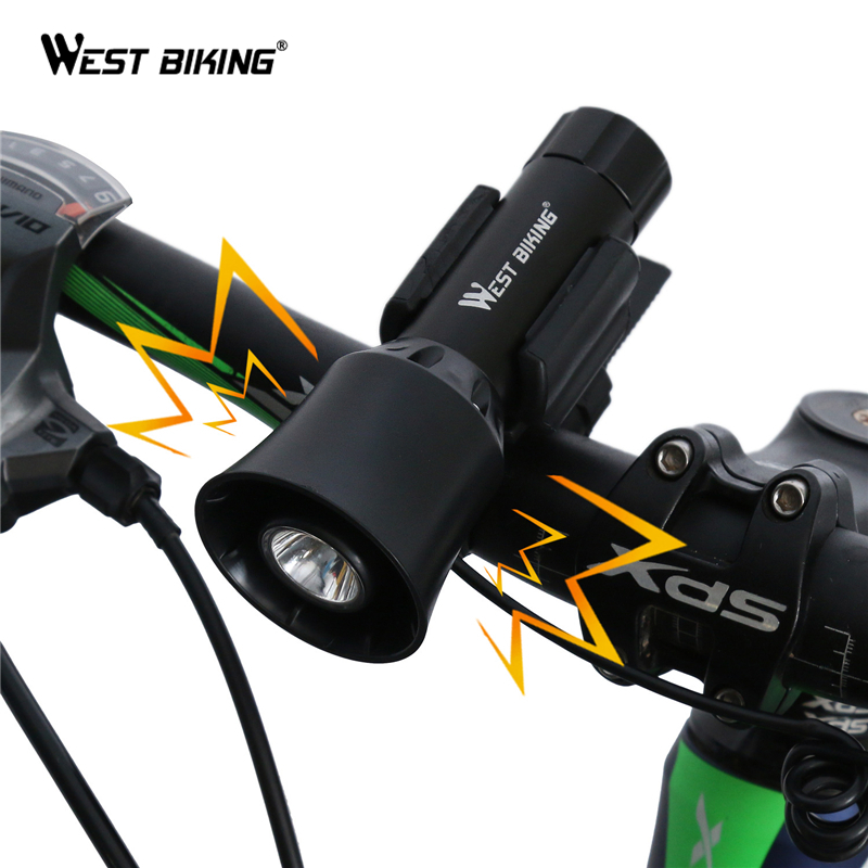 WEST BIKING 4-sounds Bicycle Bell Light Electronic Siren Horn Bell Ring Alarm Speaker Bike Front Head Light Bicycle Bell Lamps west biking bicycle bell pure copper bike sound handlebar ring horn safety alarm bell timbre bicicleta accessories bicycle bell