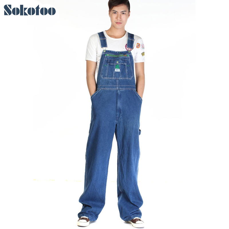 Sokotoo Men's casual loose green zipper bib overalls Male plus large size denim jumpsuits Huge pants Free shipping men s plus size s m l xl xxl 3xl 4xl denim shorts casual pocket overalls loose jumpsuits bib pants