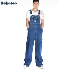 Sokotoo Mens casual loose green zipper bib overalls Male plus large size denim jumpsuits Huge pants Free shipping
