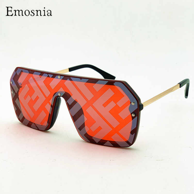 246cc7b37193 Emosnia Luxury Men Women Big Pilot Sunglasses Gradient Retro Black Aviator  Silver Mirror Sun Glasses Brand