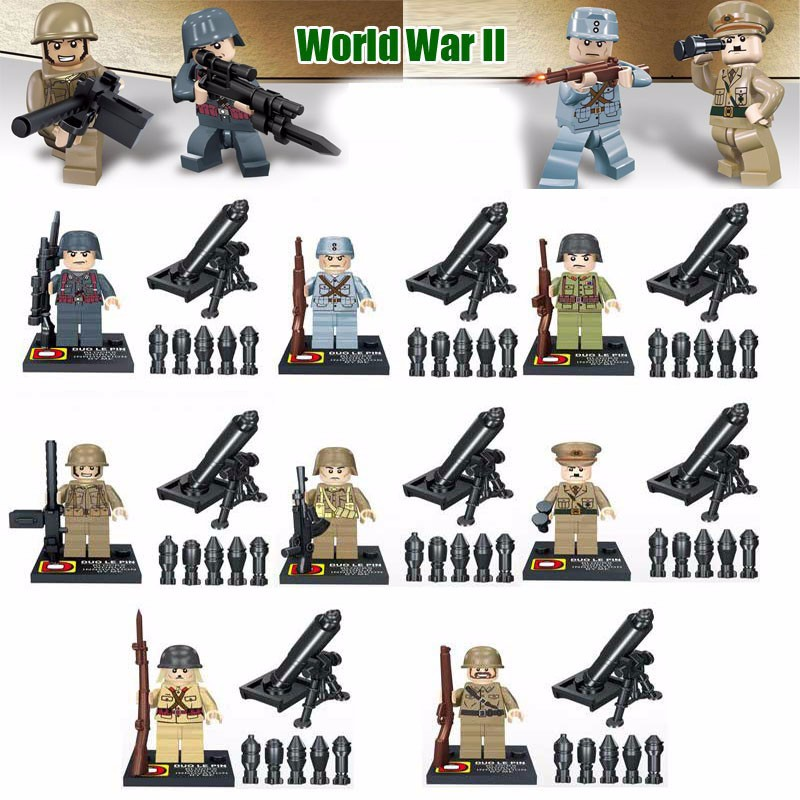 Oenux WW2 Military US Soviet Japanese Army Soldiers Figures Building Blocks Set Military Weapons Model MOC Building Brick Toy building soviet citizens with american tools