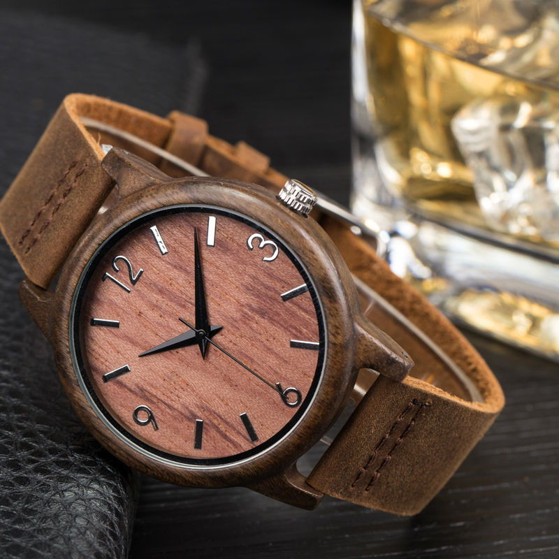 2017 wooden quartz watch men watches with bamboo wood leather strap luxury brand  male clock Japanese movement casual mens watch