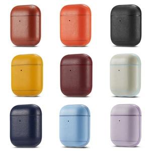 Image 1 - יוקרה עסקים אוזניות מקרה עבור אפל Airpods 2 רצועת עור מפוצל Bluetooth אוזניות אוויר תרמילי כיסוי פאוץ Airpod אבזרים