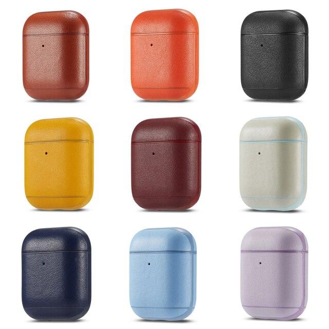 יוקרה עסקים אוזניות מקרה עבור אפל Airpods 2 רצועת עור מפוצל Bluetooth אוזניות אוויר תרמילי כיסוי פאוץ Airpod אבזרים