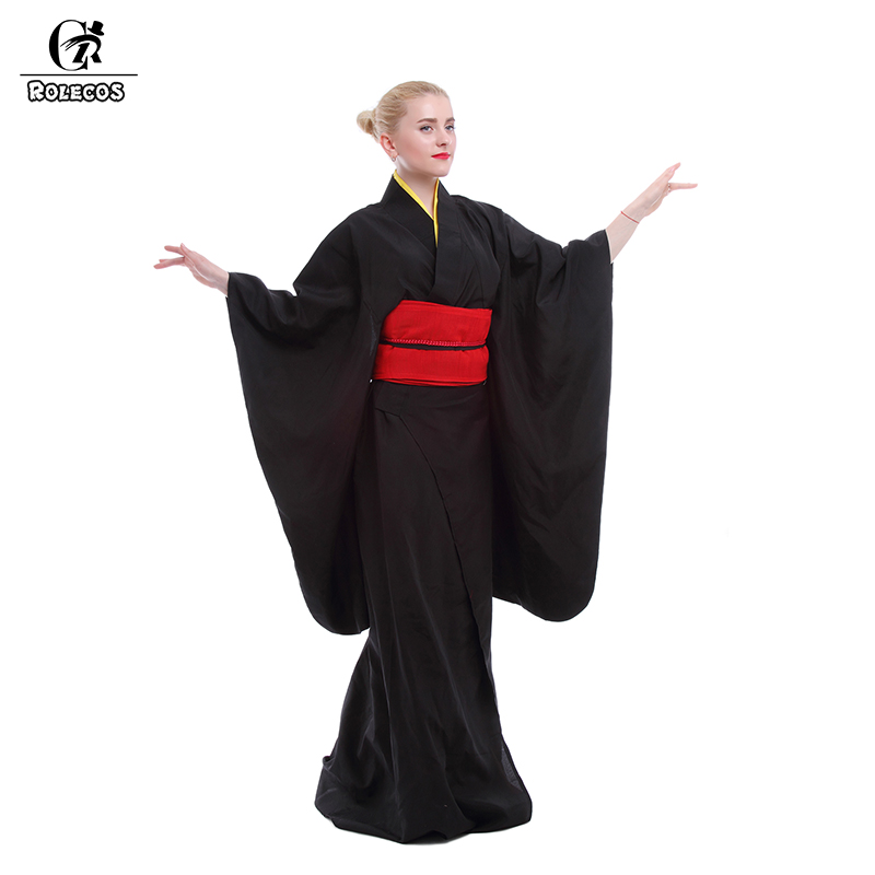 Rolecos Japanese Kimono Women Traditional Black Yukata Cosplay Costumes Obi Belt Dress Evening