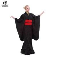 Rolecos Japanese Kimono Women Traditional Black Yukata Cosplay Costumes Obi Belt Evening Dresses