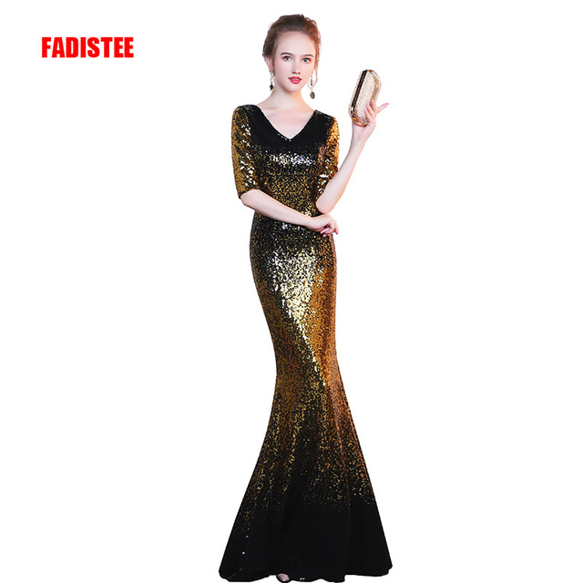3720cce23ba58 US $68.0 20% OFF|FADISTEE New arrival elegant half sleeve dress evening  party mermaid sequin long plus size spandex stretch style dress-in Evening  ...