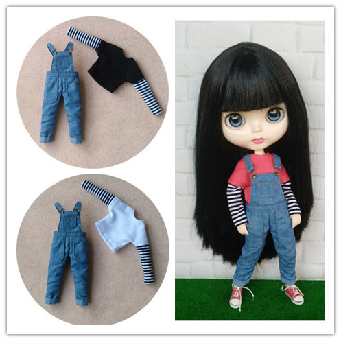 Doll's Blyth Clothes Long-sleeve T-shirt/bib Overall Pants For Pullip OB24 Azone Ob22 Blyth Jeans For Barbi 1/6 Doll Accessories