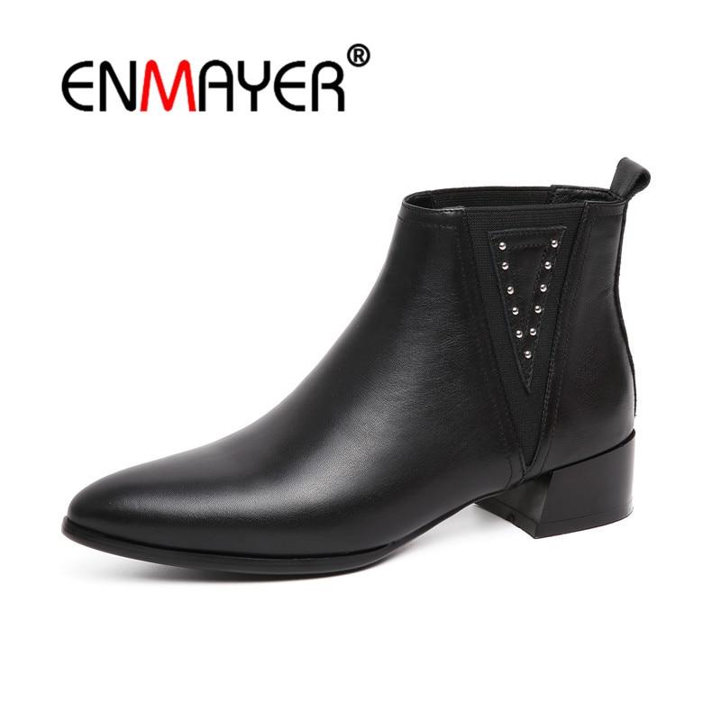Botas Elástico 39 Invierno Enmayer Moda De Pie Casuales Zapatos Dedo Black Banda Puntiagudo Bolso Vaca Cr1125 Cuadrados 34 Mujer Tacones Del Cuero Talla rnq6XxqH