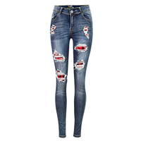 Women Ripped Spliced Tight Elastic Skinny Jeans Fashion Hollow Out Holes Distressed Jeans Korean Style Denim