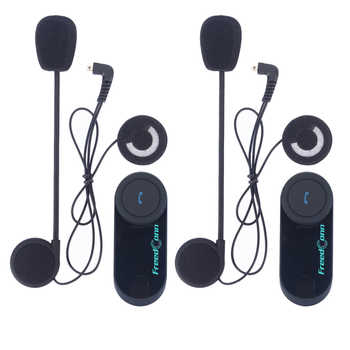 2 pcs FreedConn T-COM VB Helmet Headset 800M Bluetooth Interphone Motorcycle Intercom with FM Radio + Extra Clip
