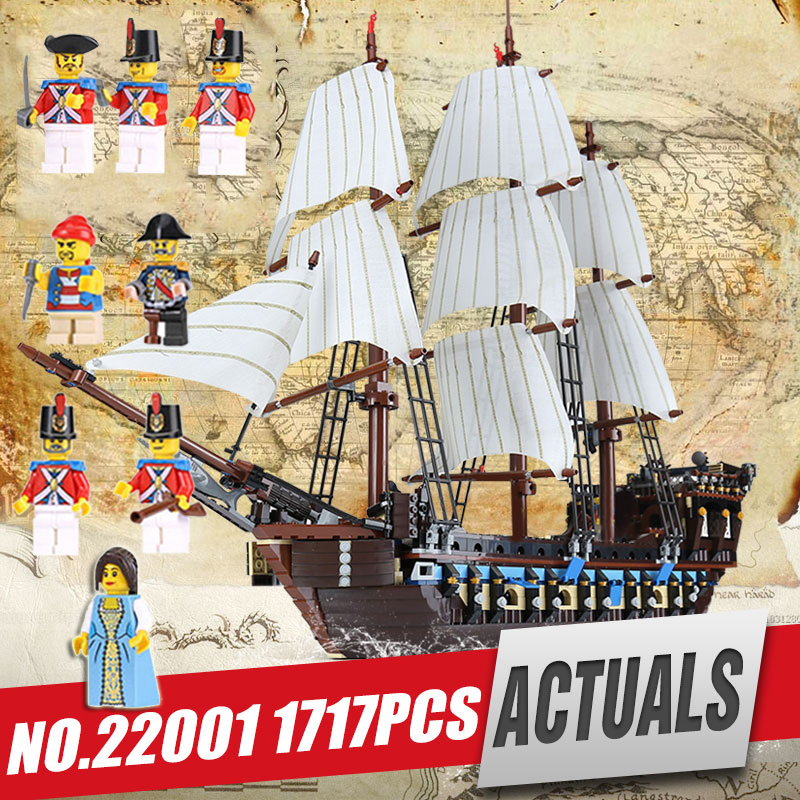 DHL Lepin 22001 Pirate Ship Imperial warships Model Building Kits Block Briks Toy Gift 1717pcs Compatible legoing 10210 for kids lepin 22001 pirates series the imperial war ship model building kits blocks bricks toys gifts for kids 1717pcs compatible 10210