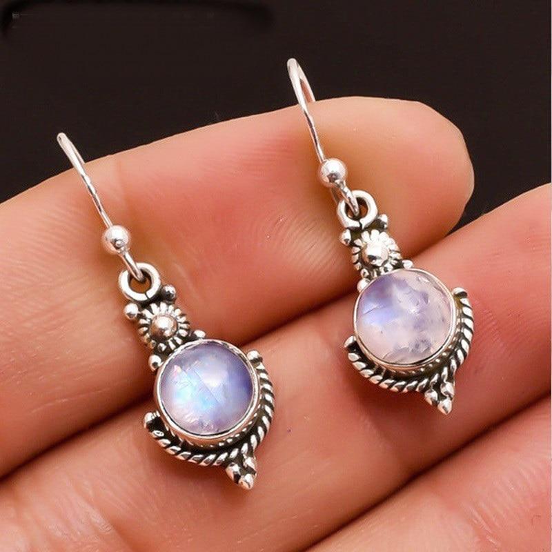 OMHXZJ Wholesale European Fashion Woman Girl Party Wedding Gift Vintage Round Moonstone S925 Sterling Silver Drop Earrings EA370